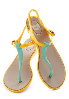 We Really Gel Sandal in Marigold by Mel Shoes - Yellow, Mint, Solid, Colorblocking, Flat, Beach/Resort, Variation