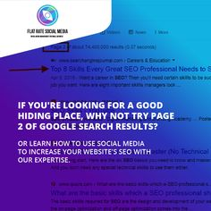 If you're looking for a good hiding place, why not try page 2 of Google search results? Or learn how to use social media to increase your website's SEO with our expertise Visit flatratesocialmedia.com to get started 😀😎🥰