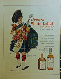 Dewar s White Label Whiskey  print ad 1950 Color Illustration  Victoria Vat