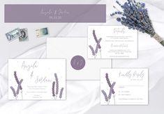 Whimsical Lavender Wedding Invitation Suite Angela & Jordan | Etsy Lilac Wedding Stationery, Lavender Wedding Invitations, Purple Wedding Invitations, Unique Wedding Invitations, Printable Wedding Invitations, Invitation Ideas, Invitation Suite, Shower Invitations, Birthday Invitations