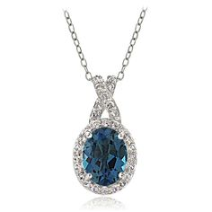 Glitzy Rocks Sterling Silver London Blue & White Topaz X and Oval Necklace