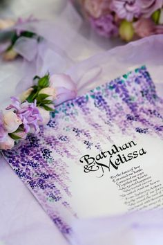 Purple wedding invitation design