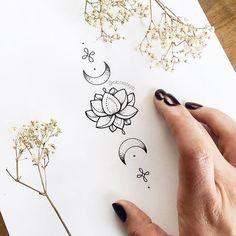 Image result for tiny moon lotus tattoo