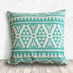 Coussin aztèque - turquoise