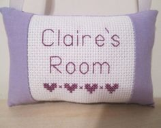 Girls Room Sign Door Hanger Cross Stitch Custom Personalized Name Mini Pillow Baby Nursery Kids Teens