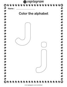 Creative Writing Worksheets, English Worksheets For Kindergarten, Kindergarten Learning, Alphabet Worksheets, Coloring For Kids, Colouring, Letters For Kids, Learn English Grammar, Letter J