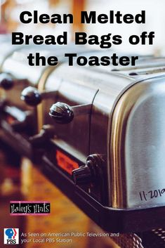 Clean Melted Bread Bags off the Toaster. Public TV's Graham Haley shows you how to remove melted bread bags from the side of your toaster with this solution!