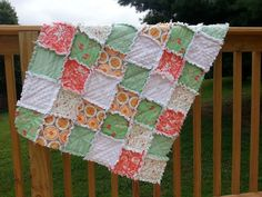 Rag Quilt- Crib Blanket- Green and Coral- Patchwork Quilt- Nursery Bedding