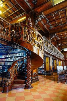 Spiral Staircase, Public Library, Lima, Peru - Amazing Home Libraries Beautiful Library, Dream Library, Grand Library, Beautiful Architecture, Architecture Design, Stairs Architecture, Home Libraries, Public Libraries, Lima Peru