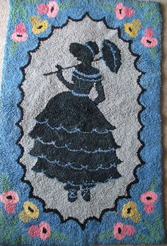 "Antique Hand Hooked Rug - Southern Belle -Victorian Silhouette - 23"" x 35""-  Figural  Primitive Rug"
