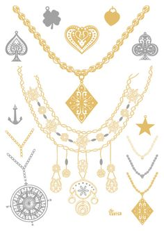 e4034b544 Temporary tattoos Waterproof tattoo stickers body art Painting for party  event decoration compass necklace slivery golden