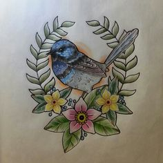 swallow instead of blue bird, three flowers for my three kids