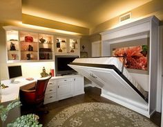 Pull Down Bed with Study Desk with Open Shelves in Traditional Bedroom Design Ideas