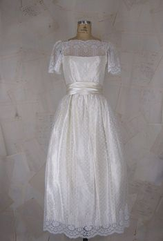 70's/80's wedding dress, lace and satin