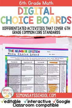These 6th grade math common core resources are a great way to provide student choice while addressing important middle school math standards. It includes 6th grade math projects that can be used for distance learning, or while teaching math in your 6th grade math classroom.#middleschoolmath #6thgradecommoncore #commoncoremath #commoncoreresources #mathresources