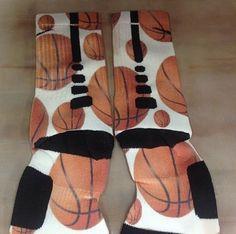 """Custom Nike Elite Socks """"Basketball/White Background"""" · Sock Insanity · Online Store Powered by Storenvy"""