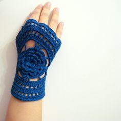 Crochet Fingerless Gloves, Kobalt, Dark Blue Lace Crochet Fingerless Gloves - Crochet mittens - Wrist warmer - Winter gloves. $22.00, via Etsy.
