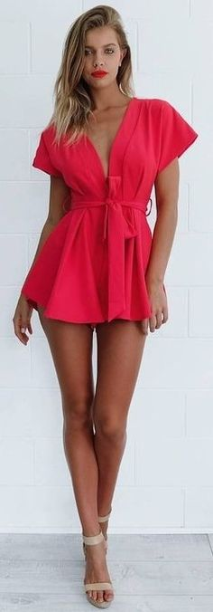 #summer #mishkahboutique #outfits | Red Playsuit