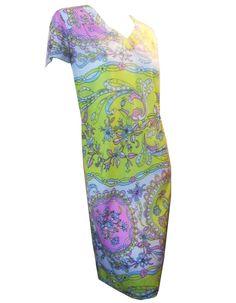 Very Pucci Style Pastel Print Jersey Nylon Dress circa 1960s