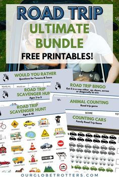 Printables for kids ready for your next family road trip   Road Trip Printables   Tots to teen games for the car   Best road trip games   Our Globetrotters - Family Travel Blog Travel Toys For Toddlers, Toddler Travel, Travel With Kids, Family Travel, Road Trip Bingo, Road Trip Packing, Road Trip Games, Teen Games, Games For Teens