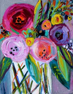 "NEW GICLEE PRINT, Abstract Floral, Floral Still Life, Bouquet of flowers in vase, ""Thea""  11"" x 14"" Fine Art Print"