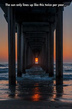 Scripps Pier in La Jolla, California only lines up twice a year…gorgeous