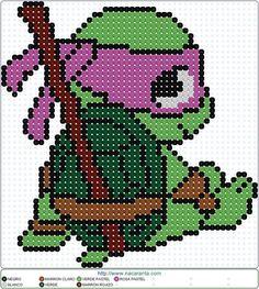 Donatello PATRONES HAMA BEADS Tortugas Ninja Perler Bead Designs, Pearler Bead Patterns, Perler Bead Art, Perler Patterns, Loom Patterns, Perler Beads, Beading Patterns, Cross Stitch Charts, Cross Stitch Patterns