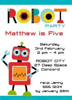 ROBOT Printable Birthday Invitation DIY Boy by TracyAnnPrintables