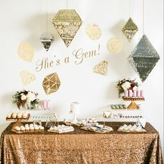 """Bridal shower decorations - """"She's a gem"""" themed bridal shower with gold + silver details {Courtesy of Inspired By This}"""