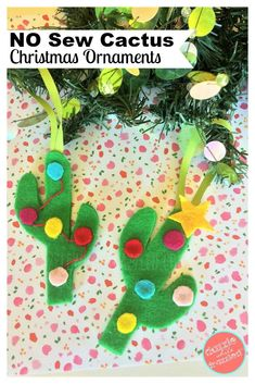 No sew cactus Christmas tree ornaments and gift toppers made from felt and hot glue gun for DIY handmade Christmas gifts and holiday home decor decorations. Christmas Gifts For Girls, Handmade Christmas Gifts, Handmade Ornaments, Kids Christmas, Mexican Christmas, Tropical Christmas, Cowboy Christmas, Cactus Christmas Trees, Diy Christmas Ornaments