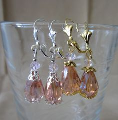 Pink Crystals Lever Back Earrings by Pizzelwaddels on Etsy, $9.97