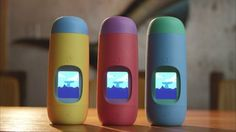 Gululu Interactive Water Bottle A sleek design bottle combined with a Tamagochi-like smart toy that keeps kids hydrated and healthy