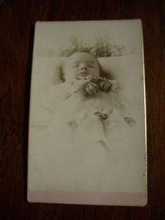 1880s-Signed-Cabinet-Card-CLEMENTS-Leadville-CO-Post-Mortem-Dead-Baby