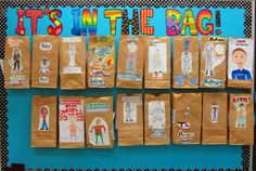 Paper Bag main character project - put research questions on the outside, put items to represent character on the inside