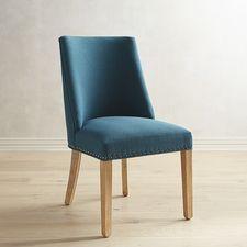 Corinne Natural Whitewash Teal Dining Chair