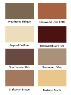 """Roycroft Arts & Crafts"" paint colors. Roycroft Associates and Sherwin-Williams Archivist Pat Eldredge documented the colors using historic buildings on the Roycroft Campus in East Aurora, New York"