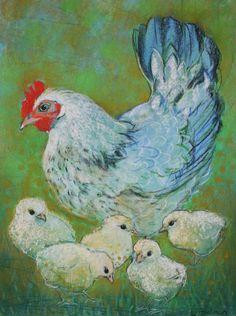 Kip en kuikens - Loes Botman pastels, pastelkrijt tekeningen