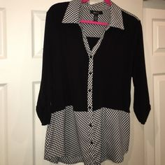 Style and Co blouse Flowy, cute top. Worn only a few times. Minor pilling on under arm. See pic 4. Black material is stretchy- patterned part is like polyester. SUPER flattering. Almost like a peplum top effect. Style & Co Tops Blouses