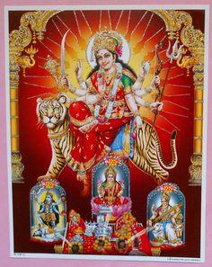 India Hindu Print Goddess Durga Kaali Lakhsmi & Saraswat With Glitter (R777)