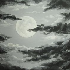 Original Night Sky Painting, Moon and Clouds, Cloudy Night Sky Art . Night Sky Drawing, Night Sky Painting, Cloud Drawing, Moon Drawing, Moon Painting, Design Poster, Art Design, Night Sky Tattoos, Cloud Tattoo