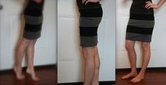 Turning old tees into a cut striped skirt. Easy and fun refashion.