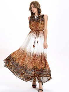 Multicolor+Printed+Belted+Keyhole+Tie+Neck+Chiffon+Dress+25.99