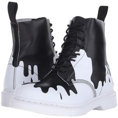 Dr. Martens Pascal 8-Eye Boot (Black/White Paint Splat Soft T) Lace-up... ($85) ❤ liked on Polyvore featuring shoes, boots, ankle boots, white, lace up platform bootie, black and white shoes, black and white boots and white boots