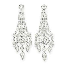 A Pair of Art Deco Diamond Ear Pendants. Via FD Gallery, www.fd-inspired.com