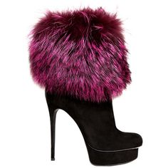 GIANMARCO LORENZI 130mm Suede And Fox Fur Boots ($1,409) found on Polyvore