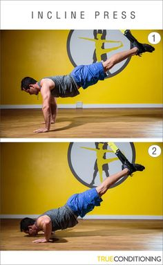 Take your push ups to the next level with the TRX Incline Press. Suspension Workout, Trx Suspension, Suspension Training, Basic Workout, Trx Workout, Workout Ideas, Best Workout Machine, Exercise Machine, Rip Trainer