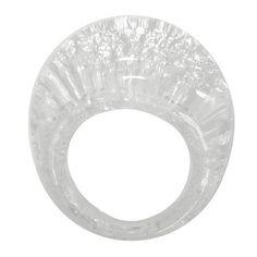 BOMBETTO • MURANO GLASS RING • CRYSTAL   SILVER-LEAF - ITALIANISSIMO