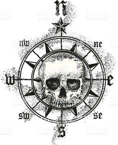 skull compass rose royalty-free stock vector art