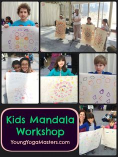 Kids Mandala Workshop Meditation and Yoga Presentation, kids hold up the mandalas they created with coloured ink and stampers Kids Make Mandalas - part of the Young Yoga Masters Kids Yoga Techer Training Camping Activites For Kids, Summer Camp Activities, Kids Yoga Poses, Yoga For Kids, Kids Class, 5 Kids, Preschool Yoga, Mindfulness For Kids, Teaching Mindfulness