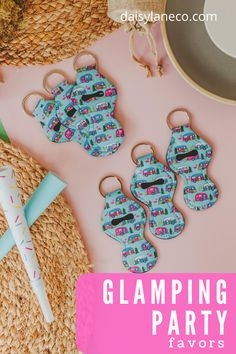 Cute camper keychains are the perfect happy camper party favor. Hang them on the outside of glamping goodie bags or add a lip balm for a complete favor. Display on a table to add to your glamping party decorations for your guests to grab. Each retro camper keychain holds a standard tube of lip balm. Camper design fits in perfectly with a camping party, a retro party and a road trip. From a camper birthday party for kids to a bachelorette road trip these party favors will compliment any… Unique Party Favors, Birthday Party Favors, Birthday Parties, Kids Birthday Themes, Party Themes For Boys, Girl Camping Parties, Bachelorette Party Planning, Hot Wheels Party, Retro Party